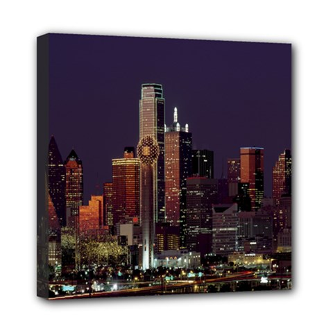 Dallas Texas Skyline Dusk Mini Canvas 8  X 8