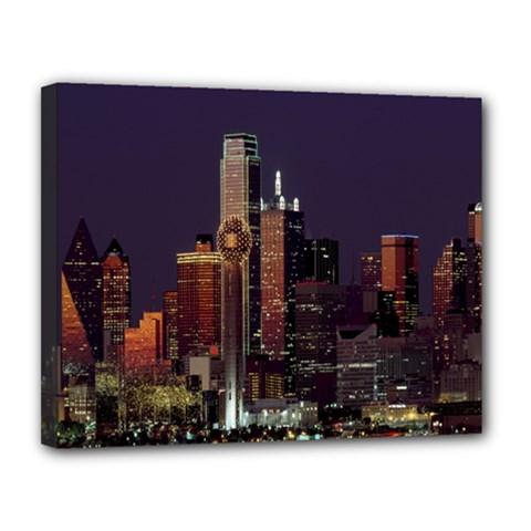 Dallas Texas Skyline Dusk Canvas 14  x 11