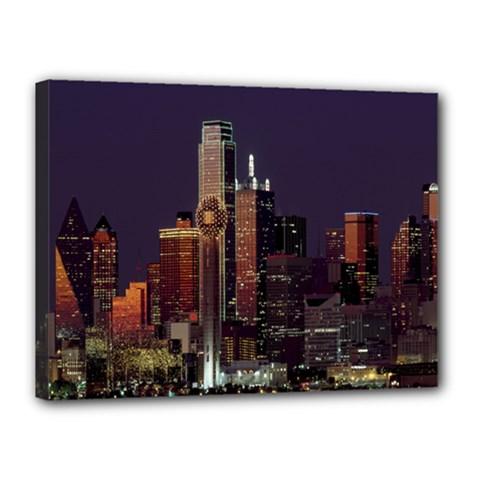 Dallas Texas Skyline Dusk Canvas 16  x 12