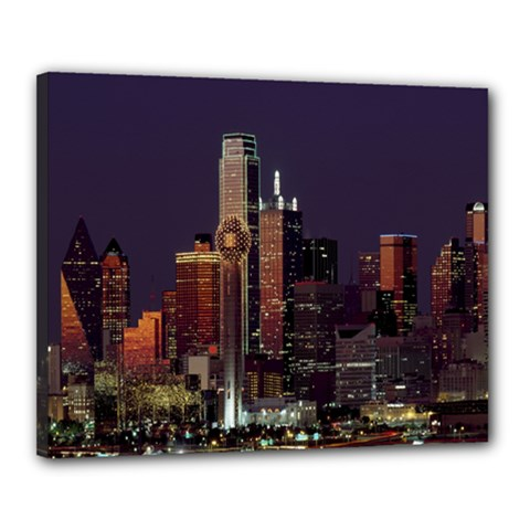 Dallas Texas Skyline Dusk Canvas 20  x 16