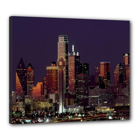 Dallas Texas Skyline Dusk Canvas 24  x 20