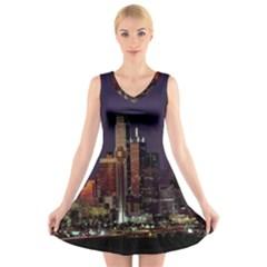 Dallas Texas Skyline Dusk V Neck Sleeveless Skater Dress