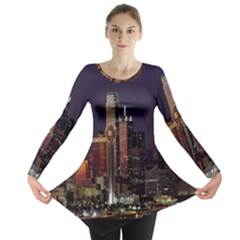 Dallas Texas Skyline Dusk Long Sleeve Tunic