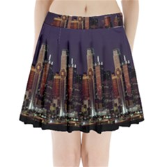 Dallas Texas Skyline Dusk Pleated Mini Skirt