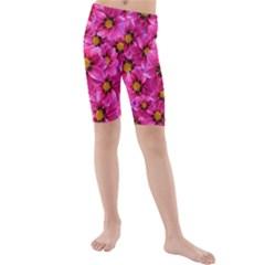 Dahlia Flowers Pink Garden Plant Kids  Mid Length Swim Shorts