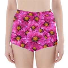 Dahlia Flowers Pink Garden Plant High-Waisted Bikini Bottoms