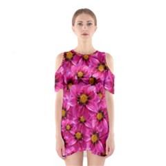 Dahlia Flowers Pink Garden Plant Shoulder Cutout One Piece