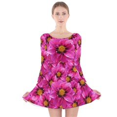 Dahlia Flowers Pink Garden Plant Long Sleeve Velvet Skater Dress