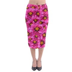 Dahlia Flowers Pink Garden Plant Midi Pencil Skirt