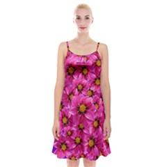 Dahlia Flowers Pink Garden Plant Spaghetti Strap Velvet Dress
