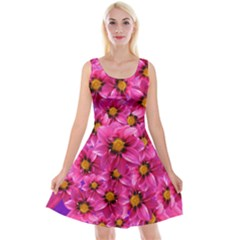 Dahlia Flowers Pink Garden Plant Reversible Velvet Sleeveless Dress