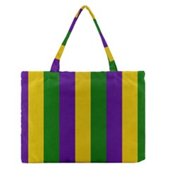 Mardi Gras Striped Pattern Medium Zipper Tote Bag
