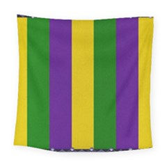 Mardi Gras Striped Pattern Square Tapestry (large)