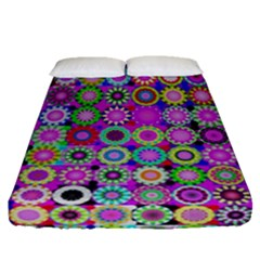 Design Circles Circular Background Fitted Sheet (queen Size)