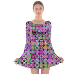 Design Circles Circular Background Long Sleeve Skater Dress