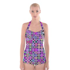 Design Circles Circular Background Boyleg Halter Swimsuit