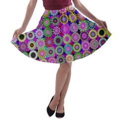 Design Circles Circular Background A-line Skater Skirt