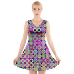Design Circles Circular Background V Neck Sleeveless Skater Dress