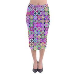 Design Circles Circular Background Velvet Midi Pencil Skirt