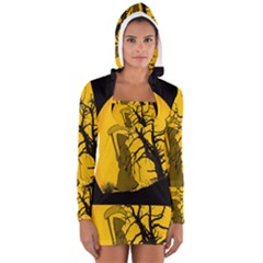 Death Haloween Background Card Women s Long Sleeve Hooded T-shirt