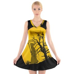 Death Haloween Background Card V Neck Sleeveless Skater Dress