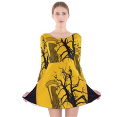 Death Haloween Background Card Long Sleeve Velvet Skater Dress