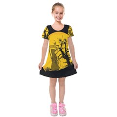 Death Haloween Background Card Kids  Short Sleeve Velvet Dress