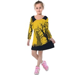 Death Haloween Background Card Kids  Long Sleeve Velvet Dress