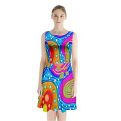 Doodle Pattern Sleeveless Chiffon Waist Tie Dress