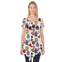 Doodle Wallpaper Short Sleeve Tunic