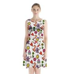 Doodle Wallpaper Sleeveless Chiffon Waist Tie Dress