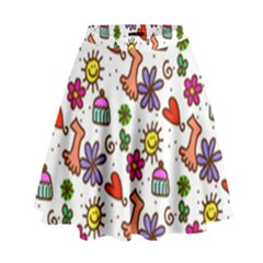 Doodle Wallpaper High Waist Skirt