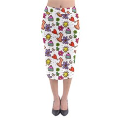 Doodle Wallpaper Midi Pencil Skirt