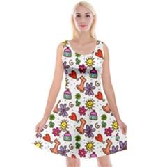 Doodle Wallpaper Reversible Velvet Sleeveless Dress