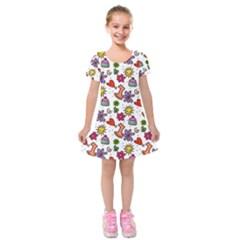 Doodle Wallpaper Kids  Short Sleeve Velvet Dress