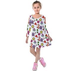 Doodle Wallpaper Kids  Long Sleeve Velvet Dress