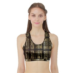 Detail Golden Gold Ornaments Sports Bra with Border