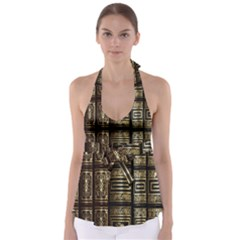 Detail Golden Gold Ornaments Babydoll Tankini Top