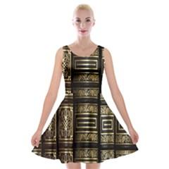 Detail Golden Gold Ornaments Velvet Skater Dress