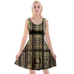 Detail Golden Gold Ornaments Reversible Velvet Sleeveless Dress