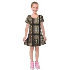 Detail Golden Gold Ornaments Kids  Short Sleeve Velvet Dress