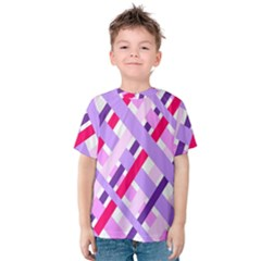 Diagonal Gingham Geometric Kids  Cotton Tee