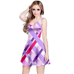 Diagonal Gingham Geometric Reversible Sleeveless Dress