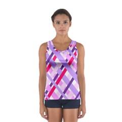 Diagonal Gingham Geometric Women s Sport Tank Top