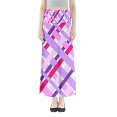 Diagonal Gingham Geometric Maxi Skirts