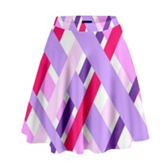 Diagonal Gingham Geometric High Waist Skirt