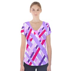 Diagonal Gingham Geometric Short Sleeve Front Detail Top