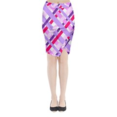 Diagonal Gingham Geometric Midi Wrap Pencil Skirt