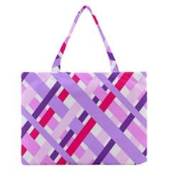 Diagonal Gingham Geometric Medium Zipper Tote Bag
