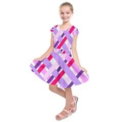 Diagonal Gingham Geometric Kids  Short Sleeve Dress